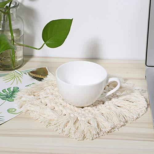 Estera para macetas, con borla, posavasos tejido a mano de algodón natural para el hogar, protección de mesa(Beige, Heart-shaped)