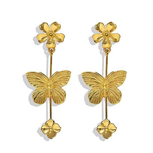 OUHUI Pendientes Hechos a Mano con Cepillado de Metal Vintage Pendientes de Aretes de Mariposa Pendientes de Flores Exquisito/A