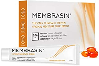 Membrasin® for Vaginal Dryness - 100% Natural Moisturizer Supplement & Intimate Cream Pack - Proven to Restore Lubrication & Relieve Dry Vagina Burning & Itching - Safe Lubricant for Women & Menopause