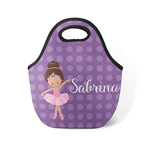 Ballerina Personalized Lunch Tote - Purple Dots Ballet Lunch Bag, Ballerina Neoprene Lunch Tote Bag, You Pick Girl - Kids Personalized Gift