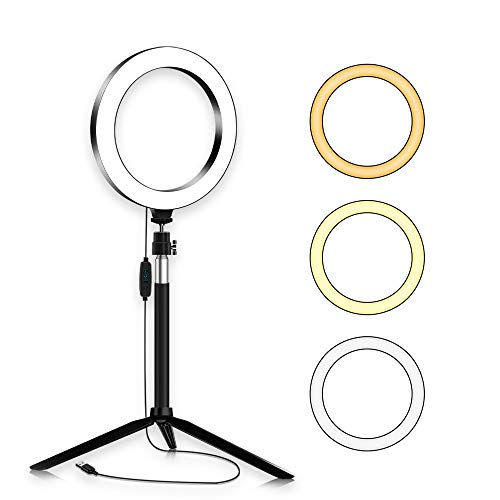 FENGHUANG Luce Dell'anello Selfie LED 8inch Ring Light Riempimento con Supporto Lamp di Bellezza Kit 3 Colori / 10 Luminosità Youtube Video Trucco Fotografia Trasmissione in Diretta Tiktok