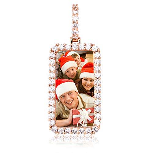 Collar con foto personalizado Collar con colgante de memoria Collar con etiqueta de perro Collar de hip hop para hombres(Oro de Rose plateado 14)