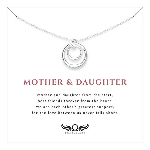 Mother Daughter Eternity Circles Sterling Silver Necklace - Jewelry Gift for Mom Daughter Birthday Mothers Day