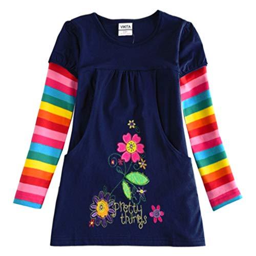 VIKITA Vestido Floral Manga Larga Algodón Niñas 2-8 años H5802Long 8T