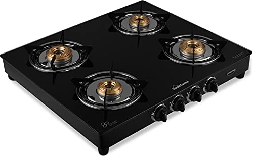 SUNFLAME Open 4 Burner Diamond Glass Top Stainless Steel Gas Stove (Black).