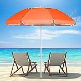 UHINOOS Beach Umbrella, 6.5ft Portable Beach Umbrella with Sand Anchor & Tilt Aluminum Pole, UV 50+ Sun Shelter with Carry Bag for Beach Patio Garden Outdoor (Orange)