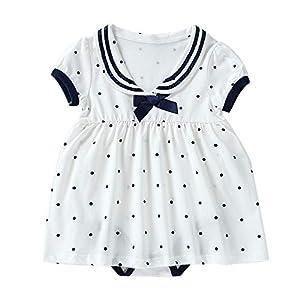 Baby nest 夏 ベビー服 スカート付き 半袖ロンパース 赤ちゃん ワンピース 女の子 セーラー風 水玉 コットン100% ホワイト-1 3-6ヶ月