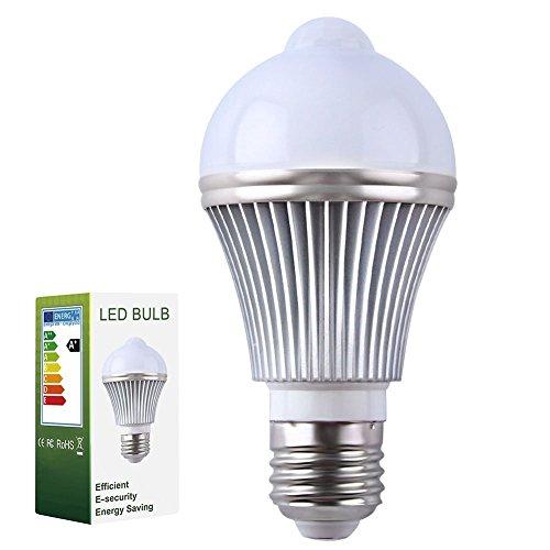 Détecteur de mouvement ampoule LED, E27 PIR Lampe Détecteur de mouvement infrarouge - Détection de lumière, Auto Switch Night Lights , Blanc froid 5.00 wattsW, 220.00 voltsV