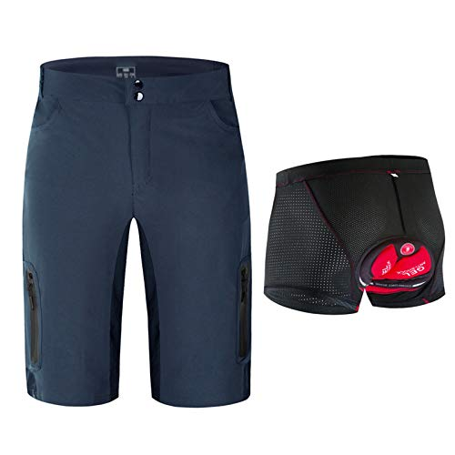 Pantalones Cortos De Ciclismo Impermeable Hombres,3D Gel De Sílice Acolchado Transpirable Pantalon Bici,para Ciclismo Correr MTB O Deportes Al Aire Libre(Size:S,Color:Navy blue1)