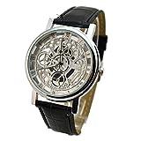 Reloj de pulsera para hombre, informal, de doble cara, no mecánico, con batería plateada Black Belt, económico y duradero.