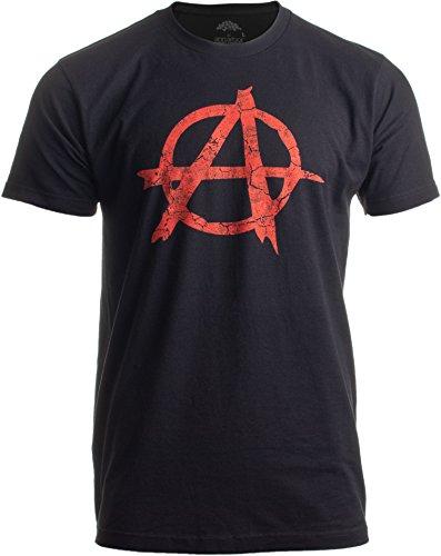 Anarchy Distressed Symbol Unisex T-Shirt/Anarchist, Punk, Riot, Disorder Tee-Black-X-Large