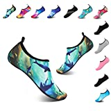 YALOX Women's Men's Water Shoes Outdoor Beach Swimming Aqua Socks Quick-Dry Barefoot Shoes for Surfing Yoga Exercise(SY-Green,44/45EU)