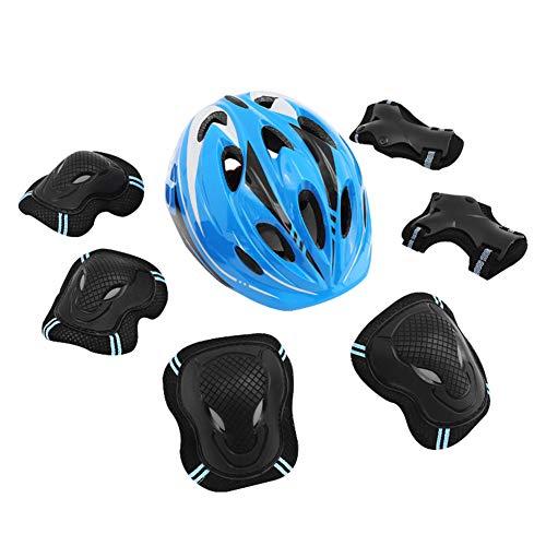7-delige set voor kinderen buitensporten, veiligheidshelm voor kinderen, knie-elleboogbeschermers, polsbeschermers voor driewieler rolschaatsen schaatsen fietsen,Blue,S