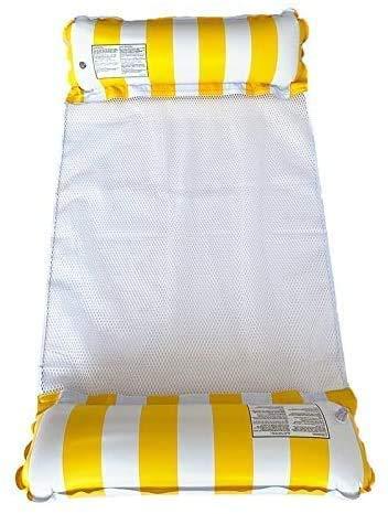 Seinal Cama inflable para el hogar, hamaca de agua, 4 en 1, tumbona para piscina, tumbona de aire, colchoneta flotante, cama de agua para piscina, hamaca, color amarillo
