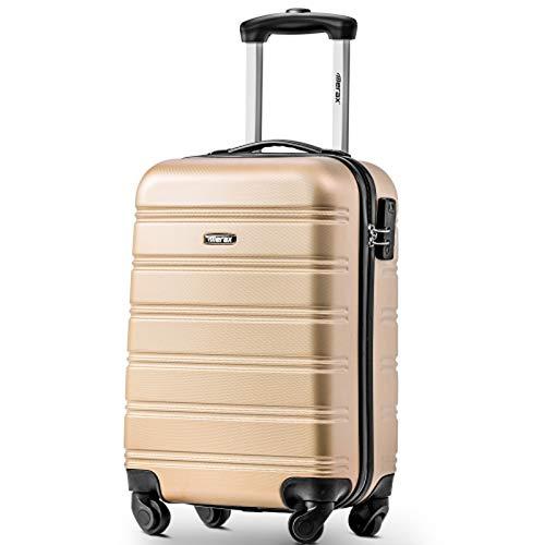 BHNACM Maleta dorada de 4 ruedas para viaje con cierre de equipaje rígido y ligero