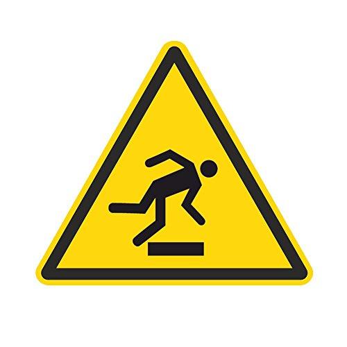 Warnzeichen W007 - Warnung vor Hindernissen am Boden - Aufkleber aus Folie - 100 mm - 250 Stück