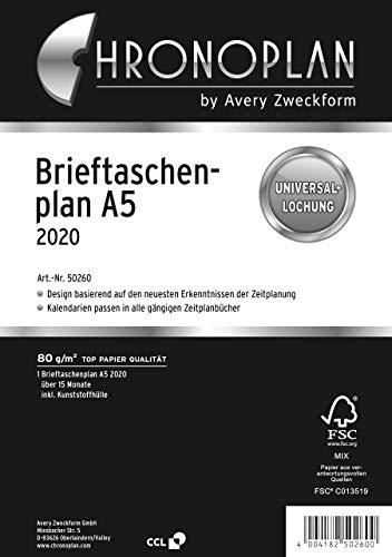 Chronoplan 50260 agendavulling 2020 (portemonneeflank A5 (156 x 210 mm), reservekalender, universele perforatie om op te…