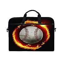 野球の火の芸術ラップトップショルダーバッグノートブックコンピュータハンドバッグケースメッセンジャーバッグは13-15.4で男性女性に適合します