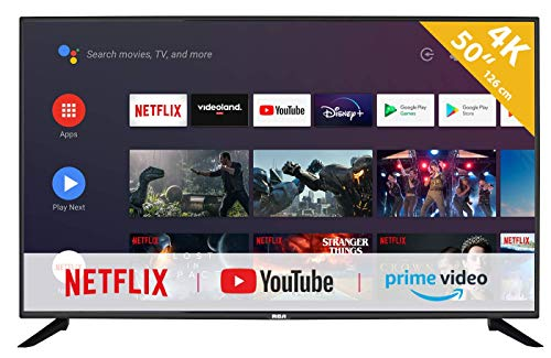 RCA RS50U2 Android TV (50 pollici 4K Smart TV con Google Assistant), Chromecast integrato, HDMI, USB, WiFi, Bluetooth, Triple Tuner (DVB-C   -T2   -S2)