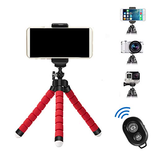 SHAWHERE APSZST Phone Tripod, Portable and Adjustable Tripod Stand Holder with Remote for iPhone, Android Phone,Camera with Universal Clip and Remote (Red)