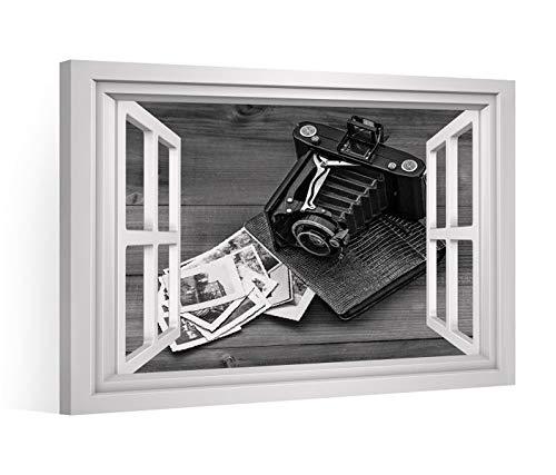 Fensterblick Leinwandbild schwarz XXL Retro Kamera Album Leinwand Bild Bilder Leinwandbilder Keilrahmen 9CE1646, Leinwand Gr.:60x40cm