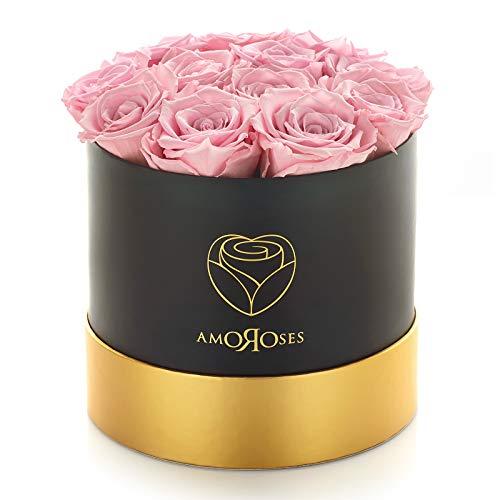 Amoroses 12 rosas reales estabilizadas que duran años - Flores preservadas Idea de regalo original para cumpleaños, diplomas y otras Ocasiones Especiales (Caja Negra con Rosas Rosadas)
