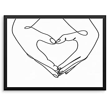 Couple Holding Hands Wall Decor Art Print One Line Poster Heart Shaped Hands Abstract Artwork -11 x14  UNFRAMED- Minimalist Modern Urban Living Room Bedroom Home Office Decoration  11 x14 HEART HANDS