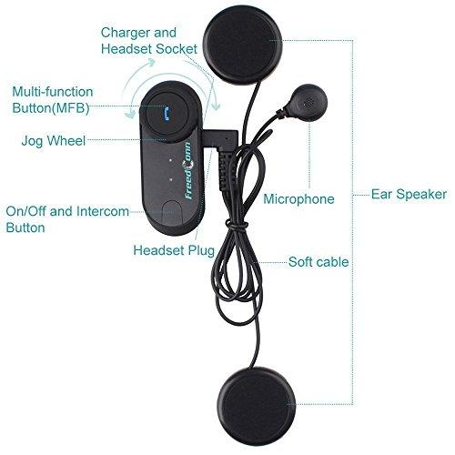 FreedConn Motorrad Intercom Bluetooth Headsets, T-COM VB Motorradhelm Interphone Gegensprechanlage Kommunikationssysteme 2-3 Rider Intercom Kit Mit 800M, GPS, FM Radio (1 Stück mit weichen Kopfhörer) - 4