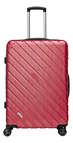 Packenger Koffer - Vertical (XL), Rot-Metallic, 4 Zwillingsrollen, 126 Liter, 74cm, Koffer mit TSA-Schloss, Erweiterbarer Hartschalenkoffer (Polycarbonat) robuster Trolley Reisekoffer