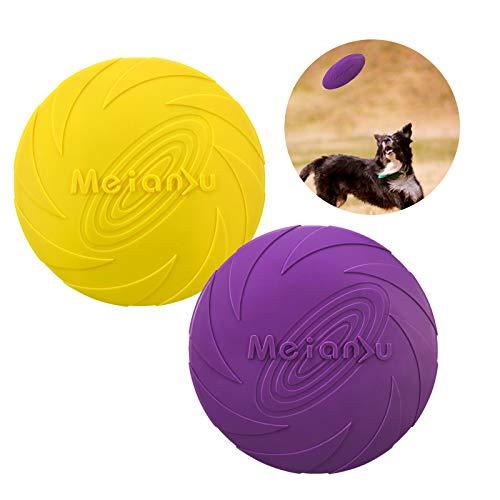 Frisbee per Cani, Resistenti Dischi Volanti Giocattolo per Cani, Frisbee di Gomma Disc Dog, Disco Volante per Cani Piccoli, Frisbee Giocattolo per Cani di Taglia Grande, 2 Pezzi