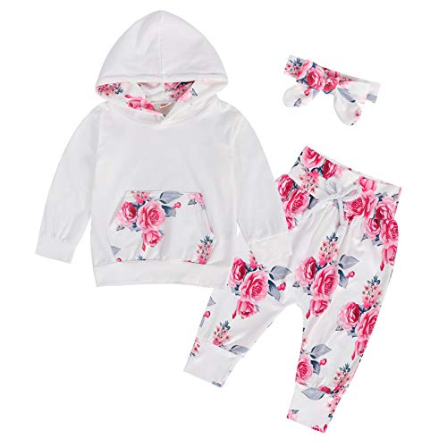 WonderBabe Blusas de moletom com capuz estampado floral infantil para bebês e meninas + calças + tiaras roupa Branco-80