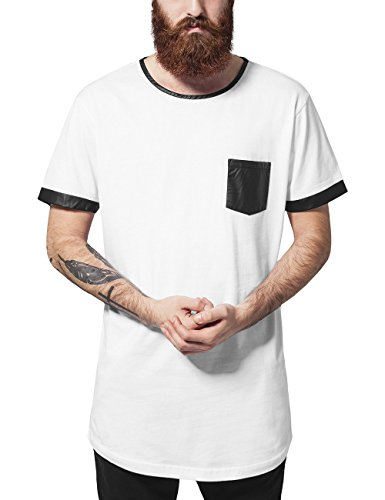 Urban Classics Long Shaped Leather Imitation tee Camiseta, Multicolor (Wht/Blk 224), L para Hombre