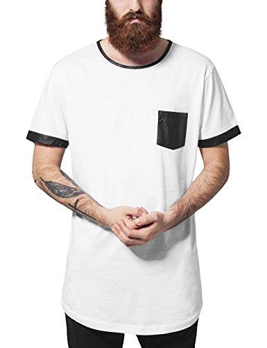 Urban Classics Long Shaped Leather Imitation tee Camiseta, Multicolor (Wht/Blk 224), L para Hombre