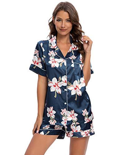 GOSO Pijamas de satén para Mujer Botones de Pijama para Mujeres Saten Conjuntos de Manga Cortas Florales Ropa de Dormir de salón Suaves