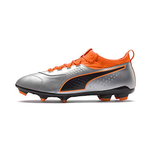 Puma Herren ONE 3 Leather FG Fußballschuhe, Silber Silver-Shocking Orange Black 01, 44 EU