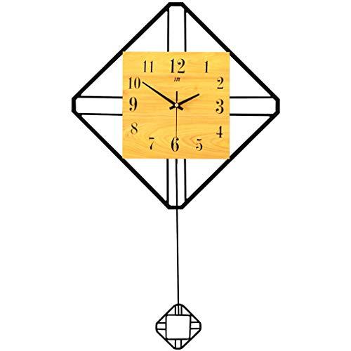 Horloge murale pendule de salon en fer forgé créatif horloge à quartz muet en bois cadran chambre bureau horloge murale 41 * 70CM (Color : Wood color)