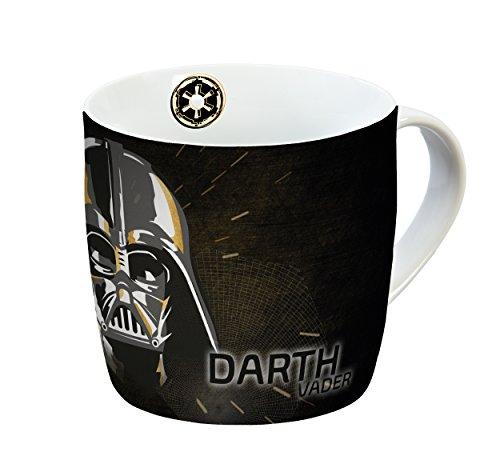 Star Wars Tasse Darth Vader 300ml Porzellan Porzellantasse, Schwarz-Gold, 11,5 x 9 x 8,5 cm