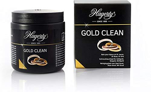 Hagerty Gold Clean Goldbad 170 ml I Effektives Schmuck-Tauchbad zur Reinigung von Gelbgold Weißgold Rosegold Rotgold I Goldschmuck Reiniger für erneuerten Glanz I Schmuckreinigungsbad mit Tauchkorb