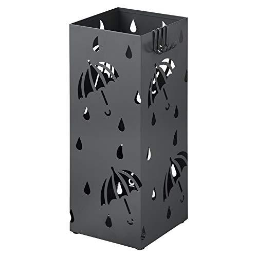 WOLTU Regenschirmständer aus Eisen, Schirmständer mit Wasserauffangschale, 4 Haken für Taschenschirme, L20 x B20 x H49cm, Anthrazit Rechteck SST02an