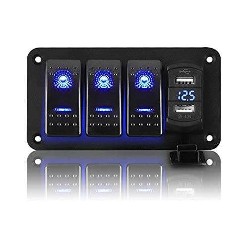 ER827QI Haoshan 4 Gang of Off Rocker Switch Panel de Aluminio con un zócalo de Cargador USB Dual de 4.2A; Calibrador de voltímetro Digital LED en Barco Marino de Coche (Color : Blue)