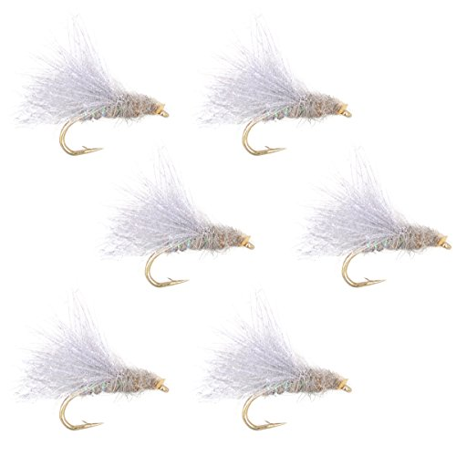 The Fly Fishing Place CDC Blue Winged Olive Emerger BWO Trout Dry Fly Fishing Flies - Set of 6 Flies Size 16