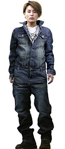 つなぎ メンズ おしゃれ つなぎ ツナギ デニムパンツ カーゴ ミリタリー デニム 作業着 作業服 バイカー 大きいサイズ 2020 INDIGO Mサイズ(2)