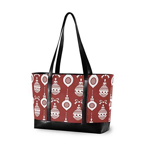 Christmas Ball Decoration Pattern Art Handbag Tote Casual Outdoor Computer Bag Fashion Large Capacity