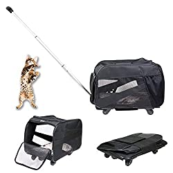 top rated dbest products Pet trolley, medium, black, padded side wheeled trolley, foldable … 2021