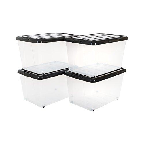 Iris 4, Rollerbox 50 Liter, Rollbox mit Handel, Transparent, Ordnungssystem, Rollenbox mit Deckel, Stapelbare Aufbewahrungsbox, Kunststoffbox-CS-320, Plastik, schwarz, 4er-Set (mittel)