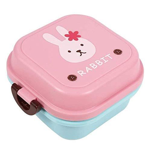Brotdose Junge Mädchen Cartoon 2-Schichten Lunchbox Frühstücksbox Büro Snackbox leicht tragbar Essensbox für Camping Schule Wandern Reise Picknick (Cartoon-Häschen Muster)