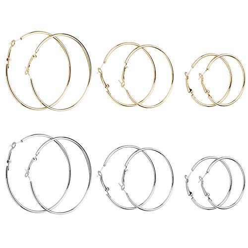 EVBEA 6 Pairs,40mm 50mm 60mm Hoop Earrings for Women Fashion Surgical Steel Big Gold Silver Rose Gold Color Girls Hypoallergenic Statement Earrings