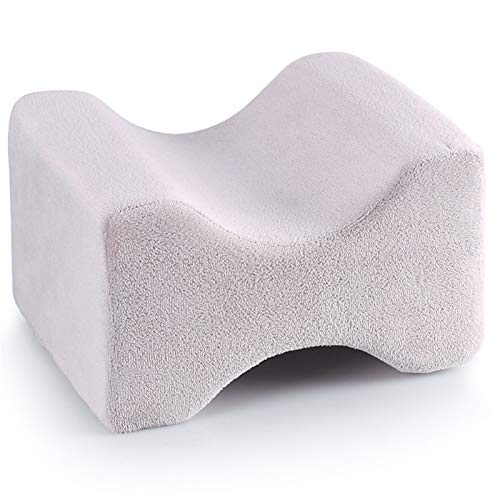 Pillow is used for sciatica back hip joint pain relief, orthopedic memory foam knee pillow side sleeper leg cushion support cushion (Color : Grey 1, Size : 26X20X15cm)