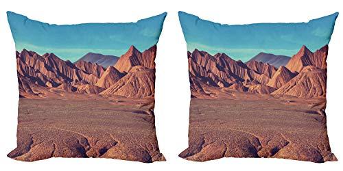 ABAKUHAUS Occidental Set de 2 Fundas para Cojín, Desert Mountain Argentina, con Estampado en Ambos Lados con Cremallera, 40 cm x 40 cm, Azul marrón