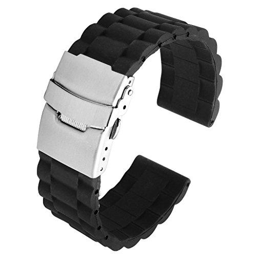 JSDDE Uhrenarmband 20mm 22mm Schwarz Silikon Uhrenarmband mit Edelstahl Faltschließe Taucheruhr Band Watch Strap Ersatzarmband Sportarmband Uhr Zubehör (22mm)